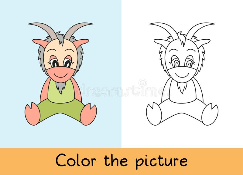 Coloring book. Goat. Cartoon animall. Kids game. Color picture. Learning by playing. Task for children.  stock illustration