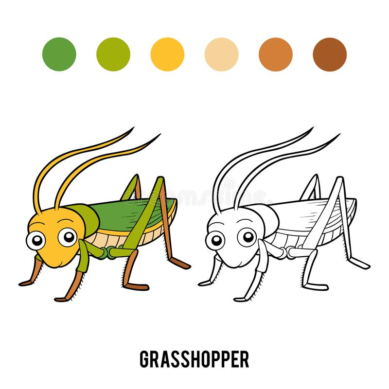 Coloring book, Grasshopper. Coloring book for children, Grasshopper royalty free illustration