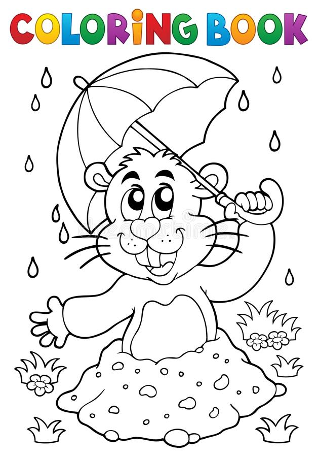 Free Coloring Book Groundhog Theme Image 3 Royalty Free Stock Photo - 108300865