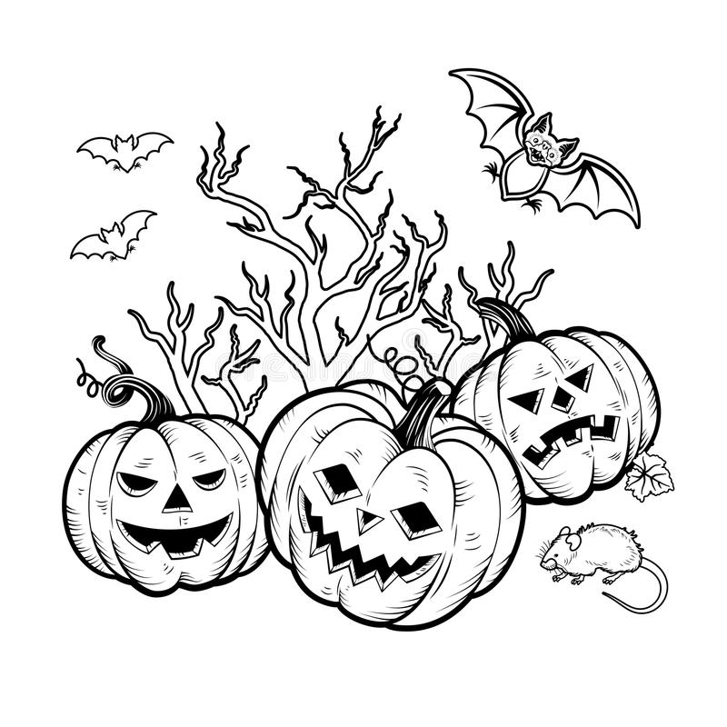 Coloring book Halloween characters. Vector illustration. Set of Halloween Characters pumpkins, witches silhouette, bats, cauldron, spiders and web, cat with royalty free illustration