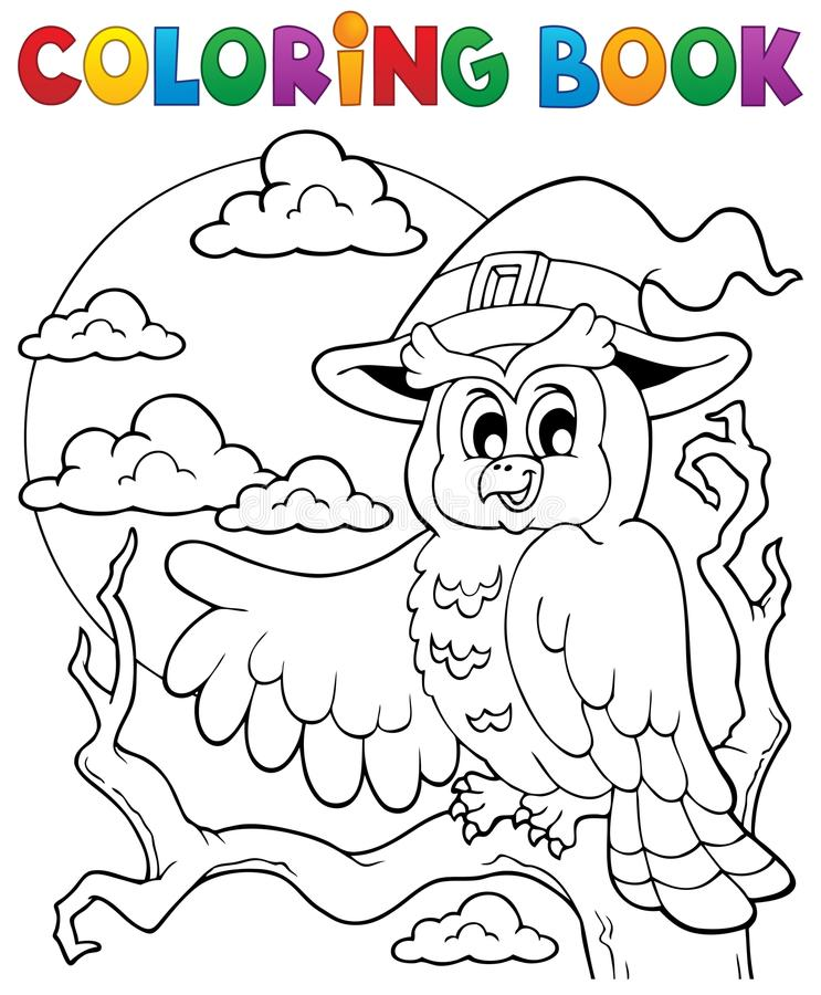 Free Coloring Book Halloween Owl 1 Stock Photography - 32985162
