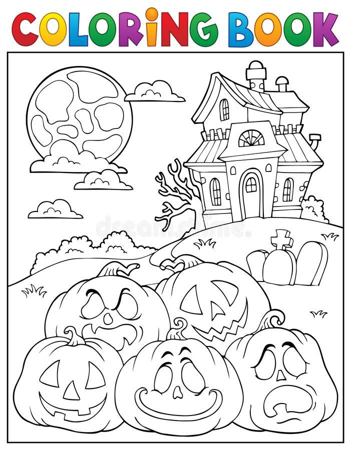 Free Coloring Book Halloween Pumpkins Pile 2 Stock Photography - 125418862