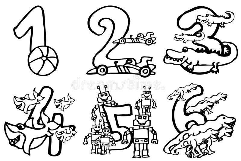 Coloring book - Happy birthday numbers to play and learning numbers with pictures about hobbies from 1- 6 for kids part 1 stock illustration