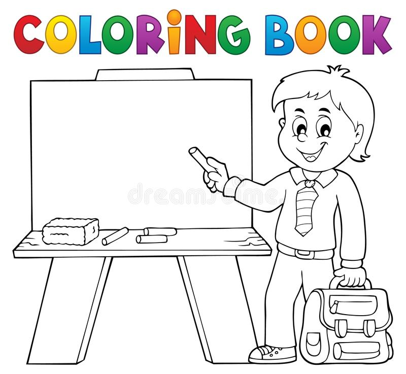 Free Coloring Book Happy Pupil Boy Theme 4 Stock Photo - 123384200