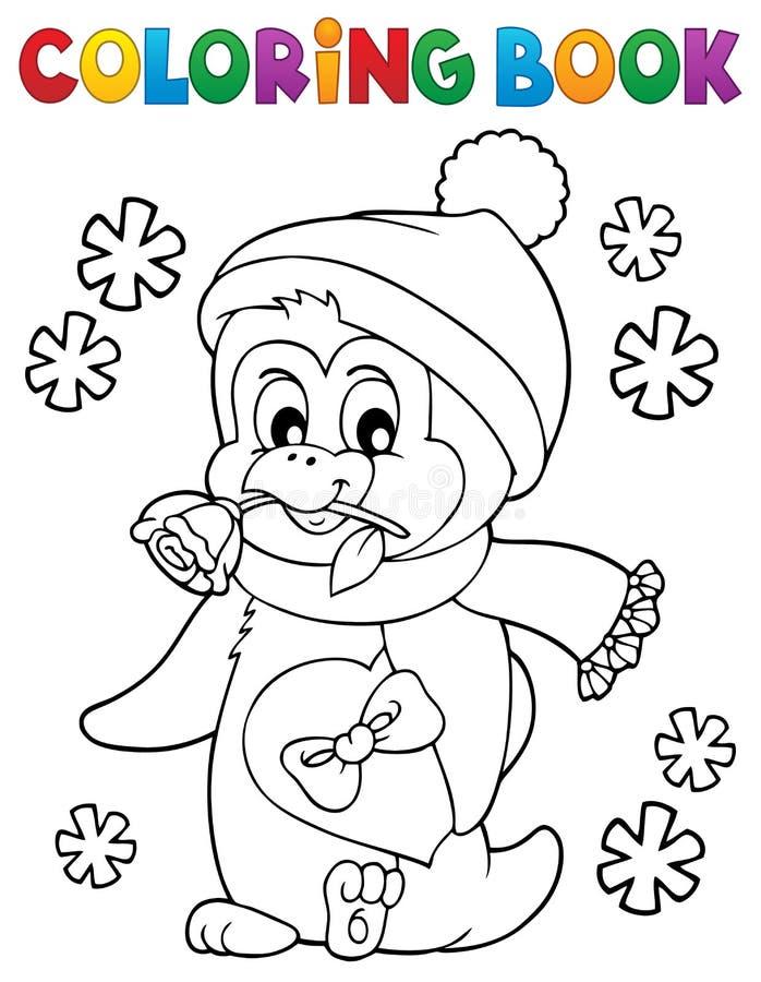 Free Coloring Book Happy Valentine Penguin 1 Stock Image - 137495061