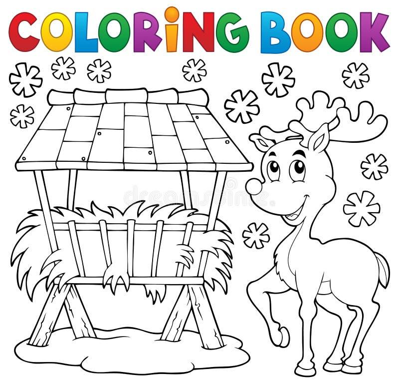 Free Coloring Book Hay Rack And Reindeer Stock Image - 60362691