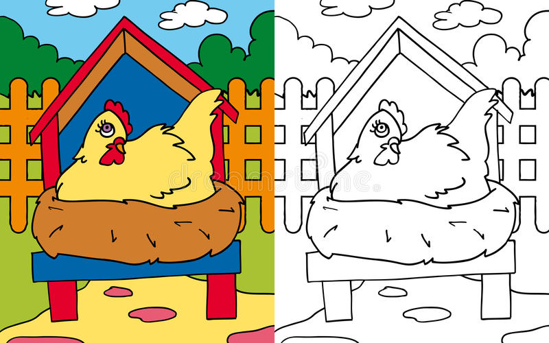 Coloring book hen hatching. Colors and black and white version of a yellow hen hatching for a coloring book stock illustration