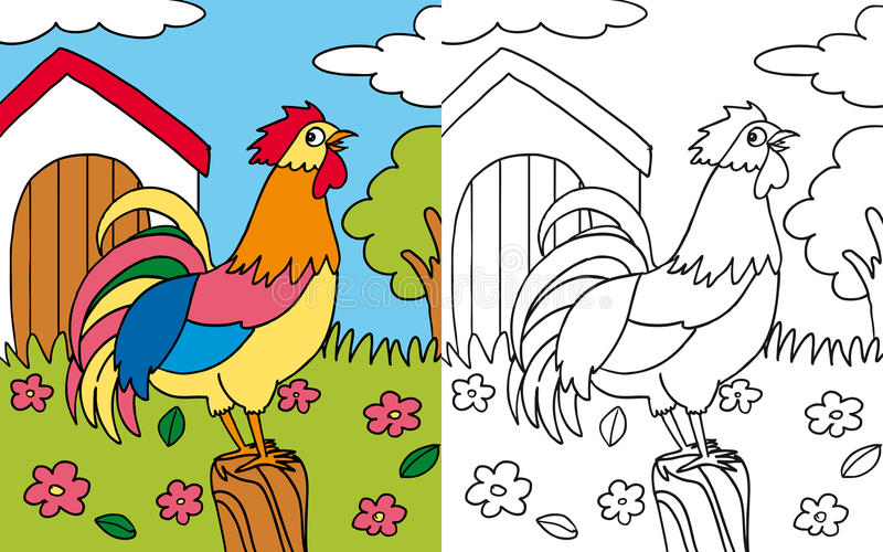 Download Coloring book hen rooster stock illustration. Image of grass - 27134709