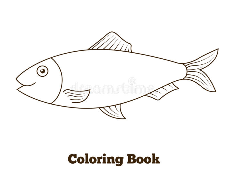 Coloring book herring fish cartoon illustration. Coloring book herring fish cartoon vector educational illustration stock illustration