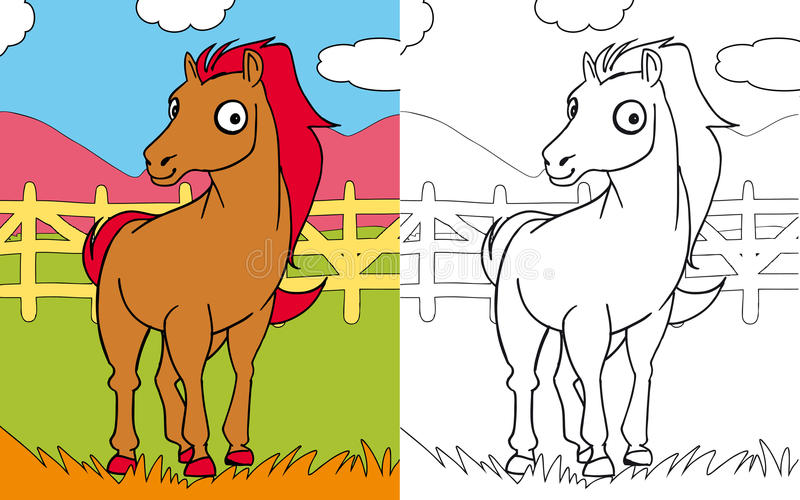 Coloring book horse royalty free illustration
