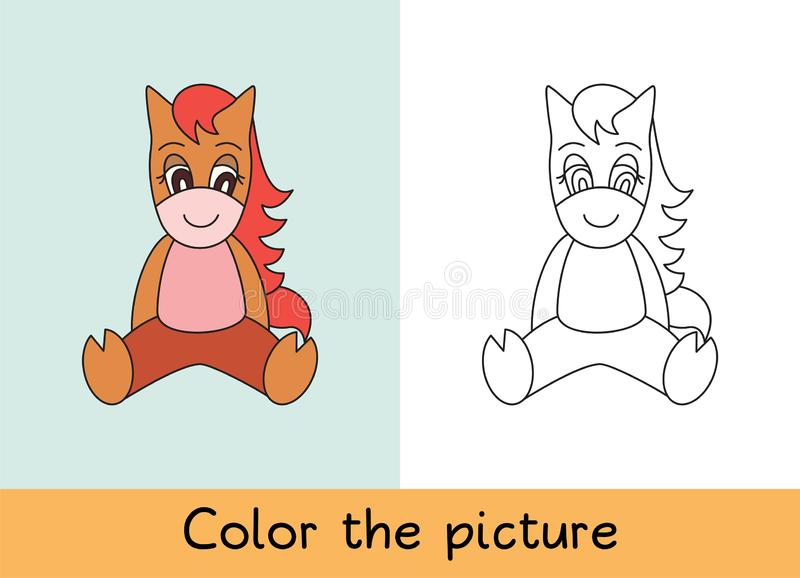 Coloring book. Horse. Cartoon animall. Kids game. Color picture. Learning by playing. Task for children.  stock illustration