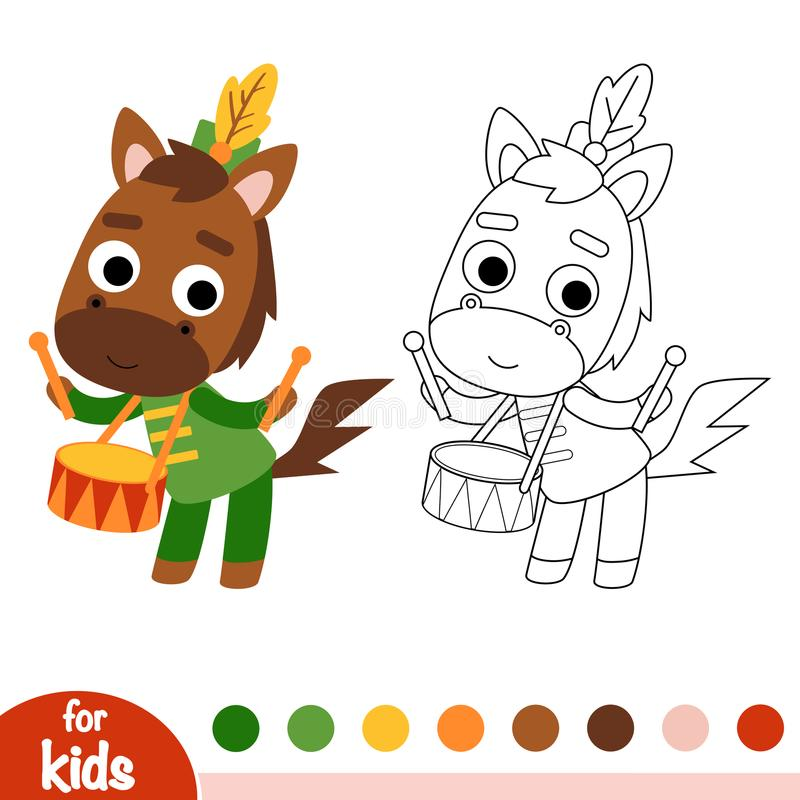 Coloring book, Horse drummer stock illustration