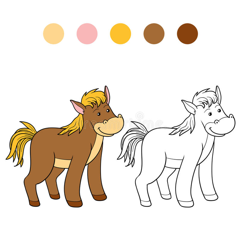 Coloring book (horse) royalty free illustration