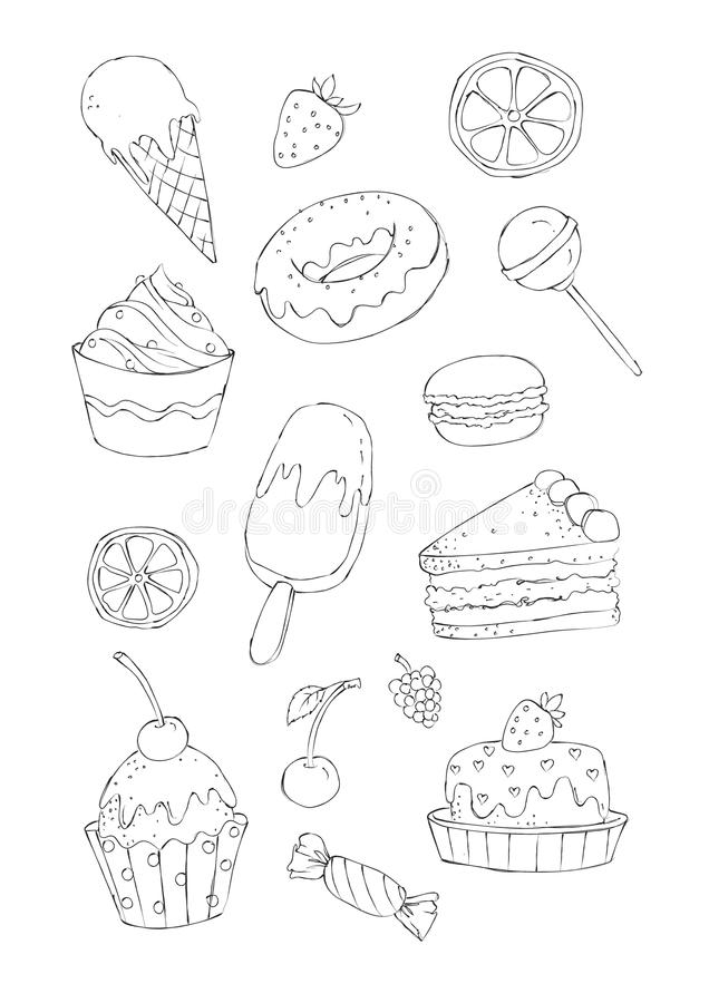 Coloring book illustration of desserts and sweets. Sketchy style image set of sweet cakes and candies for a coloring book. Colored version of this illustration vector illustration