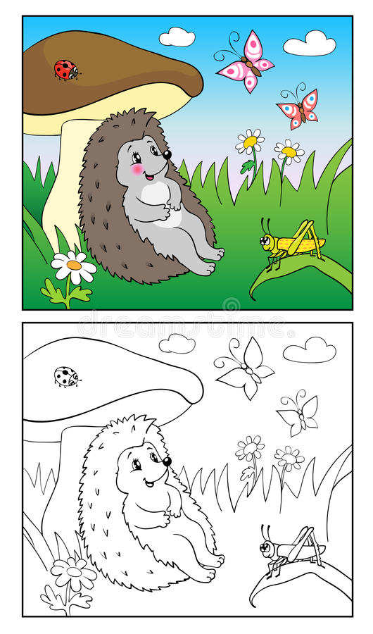 Coloring Book. Illustration of hedgehog and Insect for Children. stock illustration