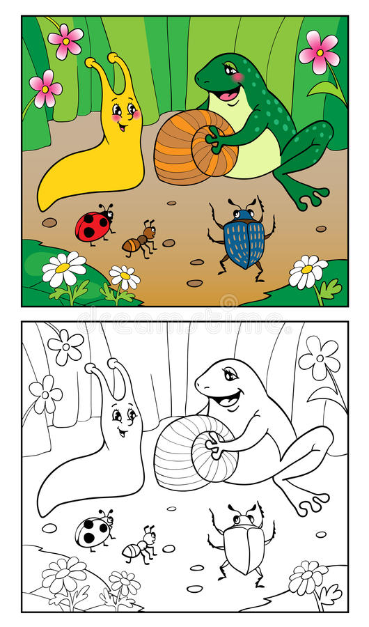 Coloring Book. Illustration Of Snail, Insects And Frog. Stock ...