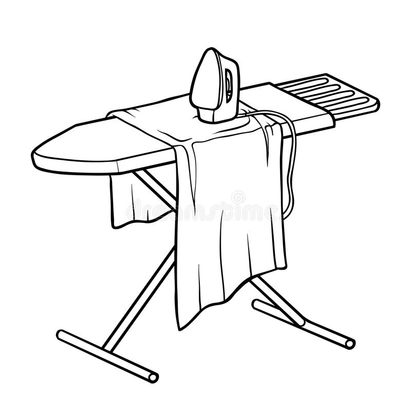 Coloring Book, Ironing Board Stock Vector - Illustration of ...