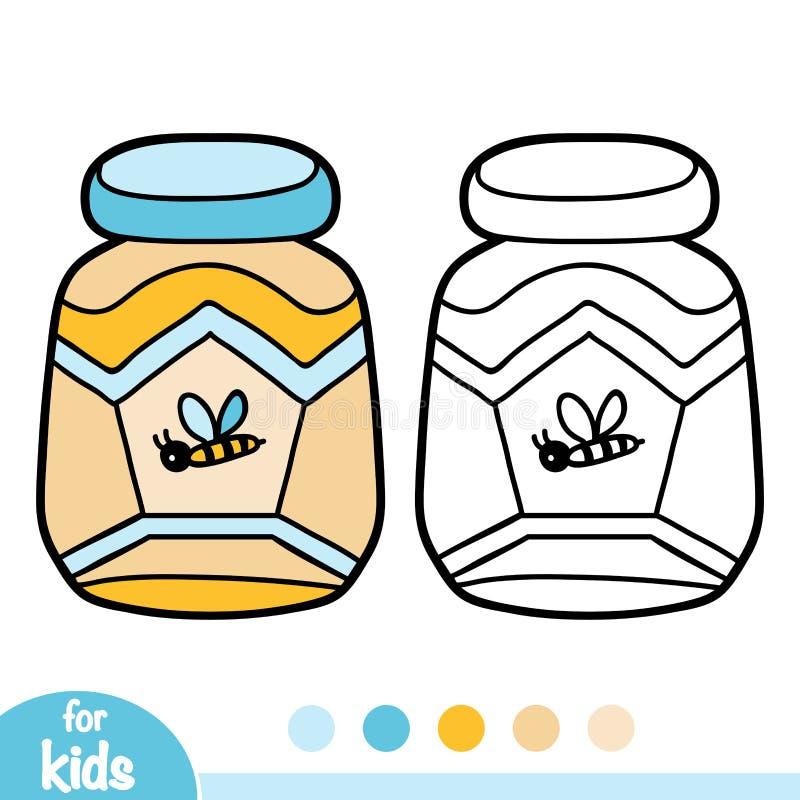 Coloring book, Jar of honey vector illustration