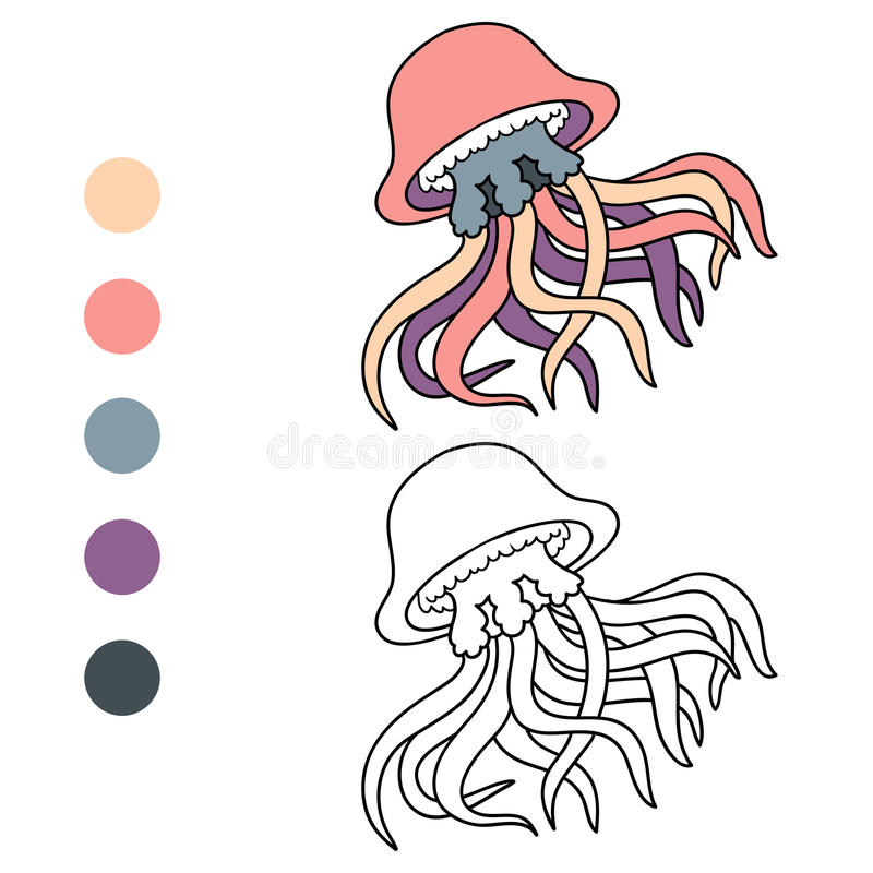 Download Coloring Book Jellyfish Stock Vector Illustration Of Mollusk