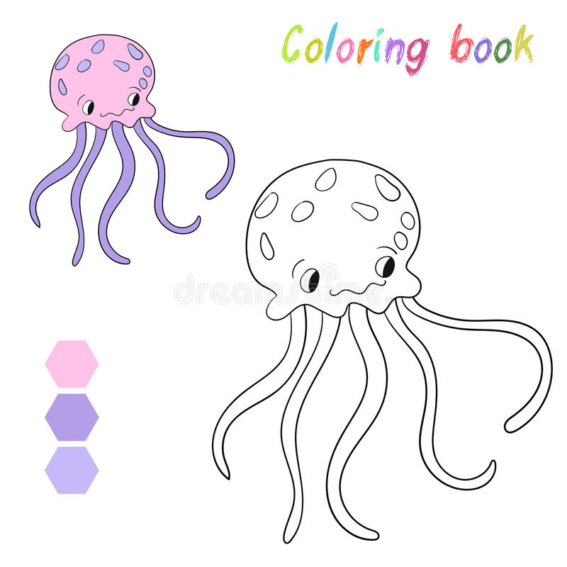 Download Coloring Book Jellyfish Kids Layout For Game Stock Vector