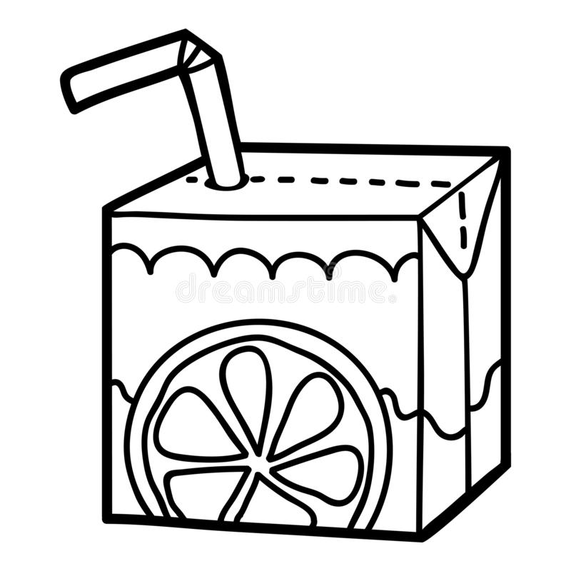 Coloring book, Juice box with straw. Coloring book for children, Juice box with straw vector illustration