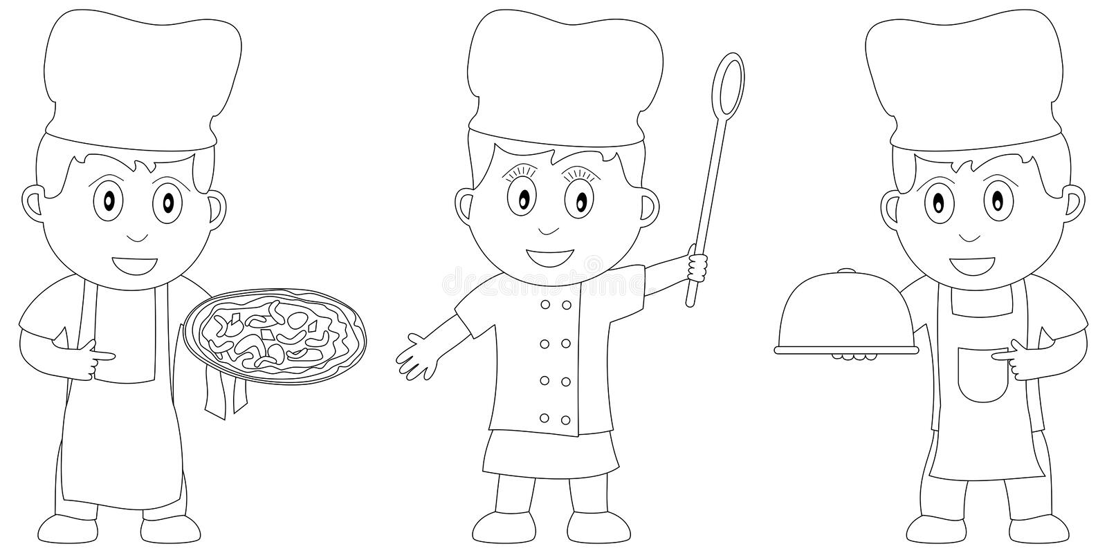 Coloring Book for Kids [17]. Three kids (a pizza chef and two chefs) in black and white. Useful also for colouring book for kids. You can find other b/w