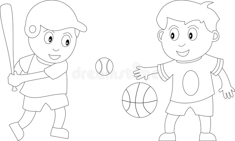 Coloring Book for Kids [3]. Two kids in black and white playing basketball and baseball. Useful also for colouring book for kids. You can find other b/w royalty free illustration