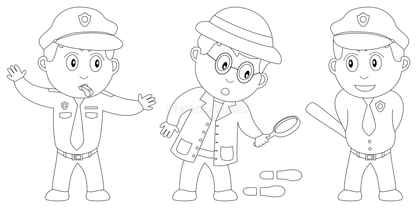 Coloring Book for Kids [8]. Three kids (a traffic officer, a detective and a policeman) in black and white. Useful also for colouring book for kids. You can find