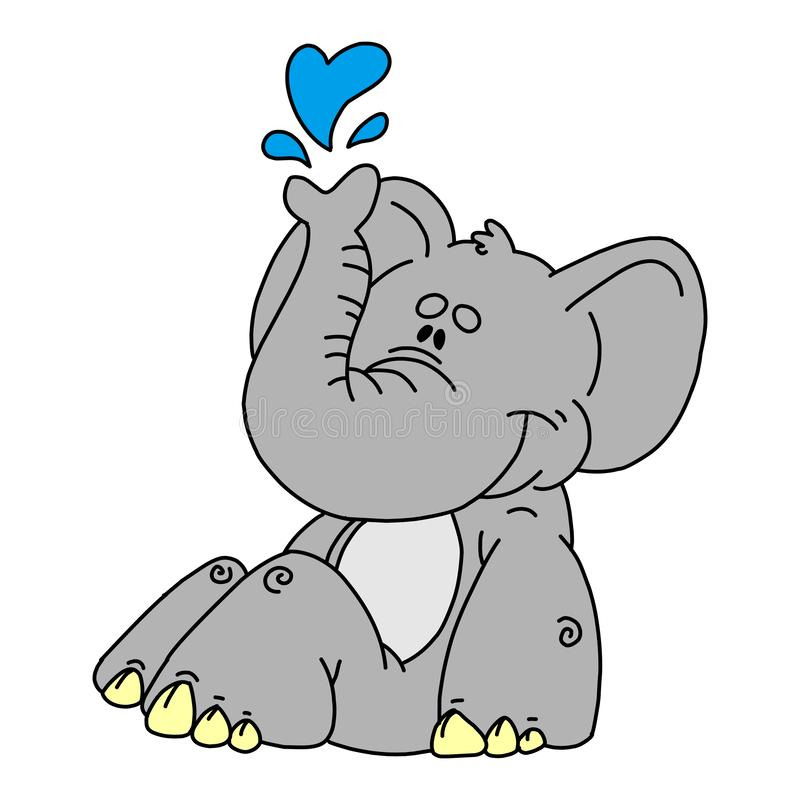 Coloring book for kids and adults decorative cartoon elephant. Vector cute baby elephant, black silhouette isolated on white for coloring. Vector cute baby stock illustration