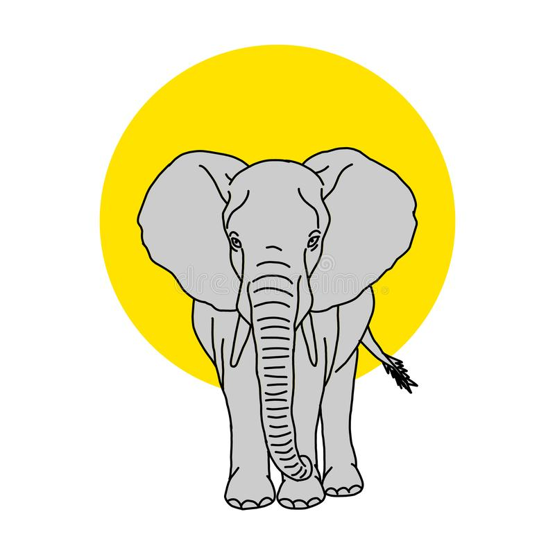 Coloring book for kids and adults decorative cartoon elephant. Vector cute baby elephant, black silhouette isolated on white for coloring. Vector cute baby royalty free illustration