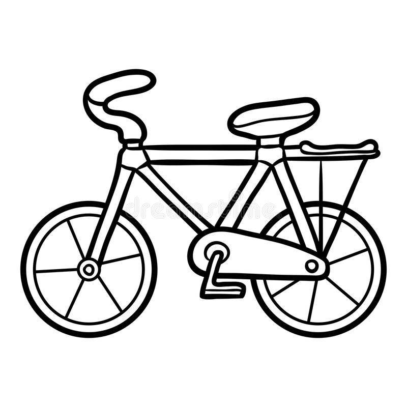 Coloring book for kids, Bicycle vector illustration