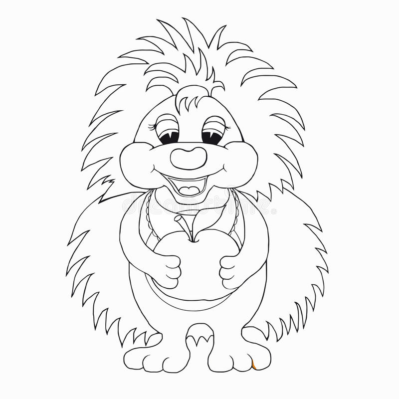 Coloring Book For Kids. Hedgehog With Apple. Stock Vector ...