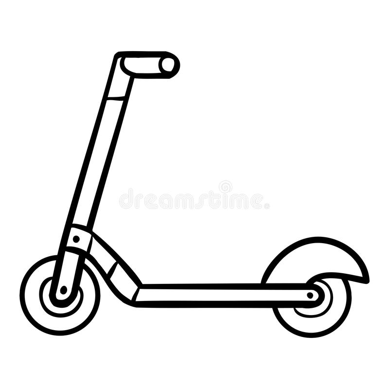 Coloring book for kids, Kick scooter vector illustration