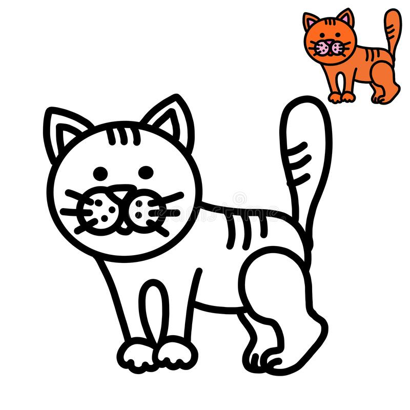 Coloring Book For Kids Kitten Stock Photo - Image Of Outline, Coloring:  200043516