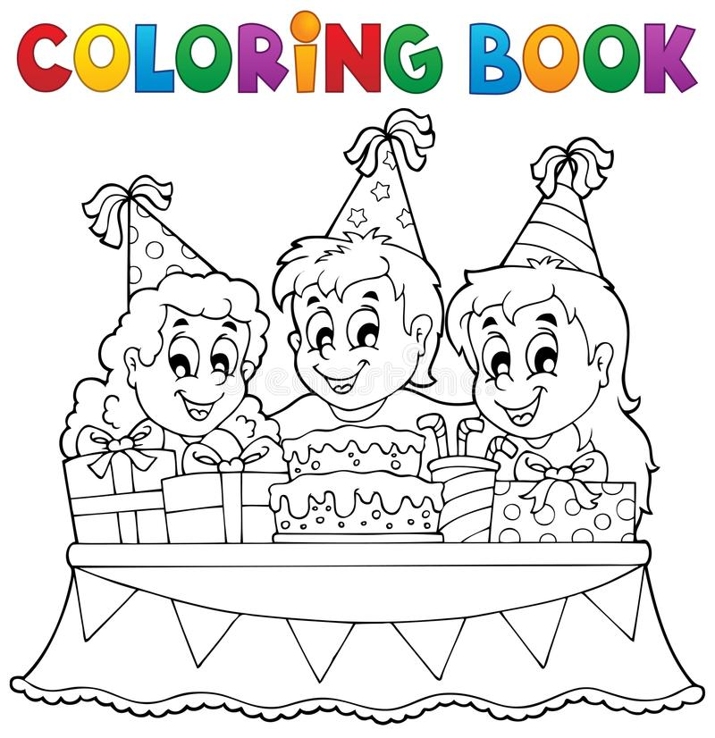 Coloring book kids party theme 1 stock illustration