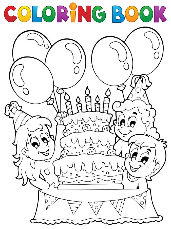 Download coloring book kids party theme 2 stock vector illustration of birthday cake