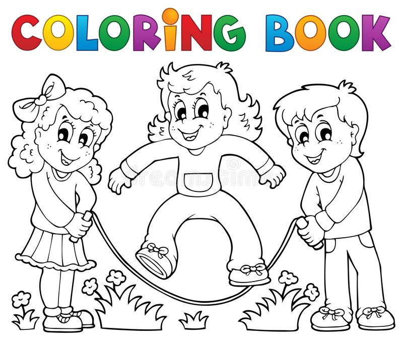 Coloring book kids play theme 1 stock illustration