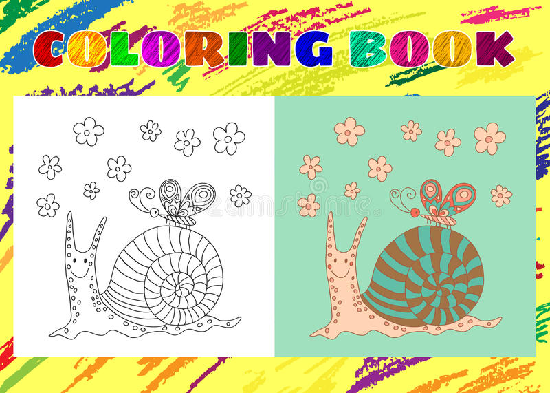 Coloring Book for Kids. Sketchy little pink funny snail stock illustration