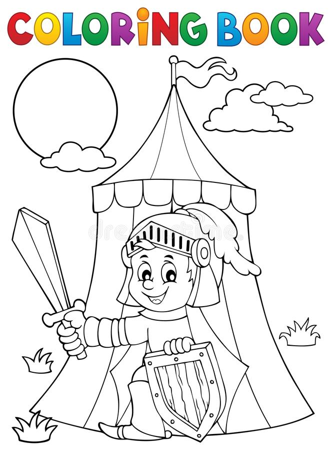 Coloring book knight by tent theme 1 royalty free illustration