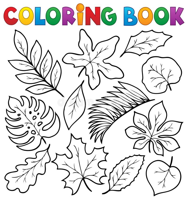 Download Coloring Book Leaves Theme 1 Stock Vector