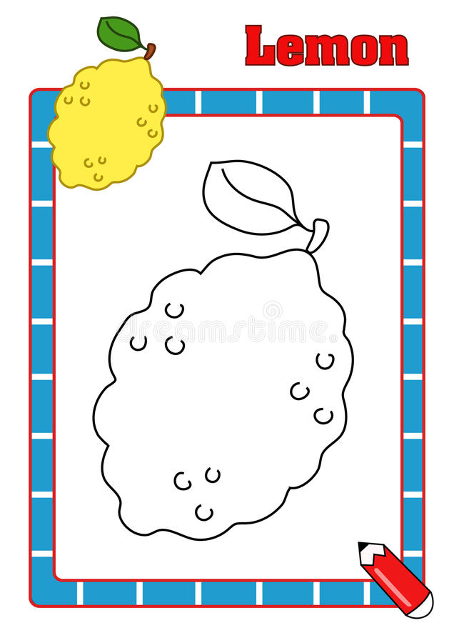 Coloring book, lemon royalty free stock photography