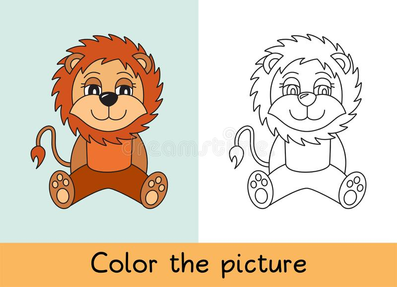 Coloring book. Lion. Cartoon animall. Kids game. Color picture. Learning by playing. Task for children.  royalty free illustration