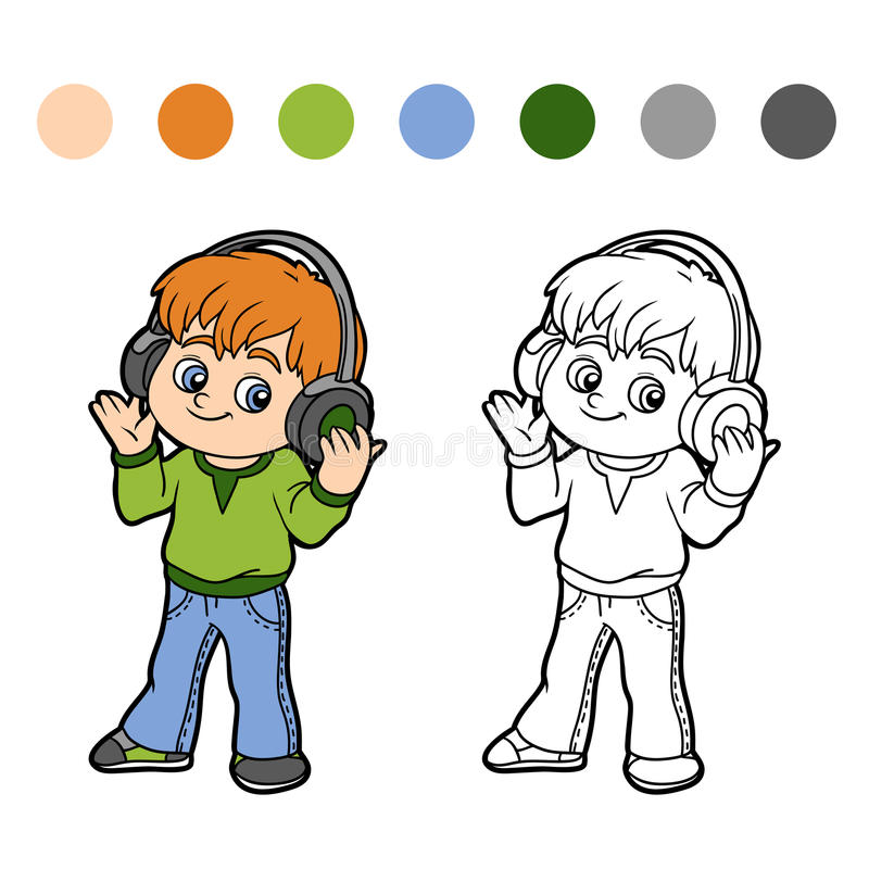 Coloring book: little boy listening to music on headphones vector illustration
