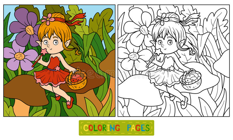 Coloring book (little fairy with a basket of fruit) vector illustration