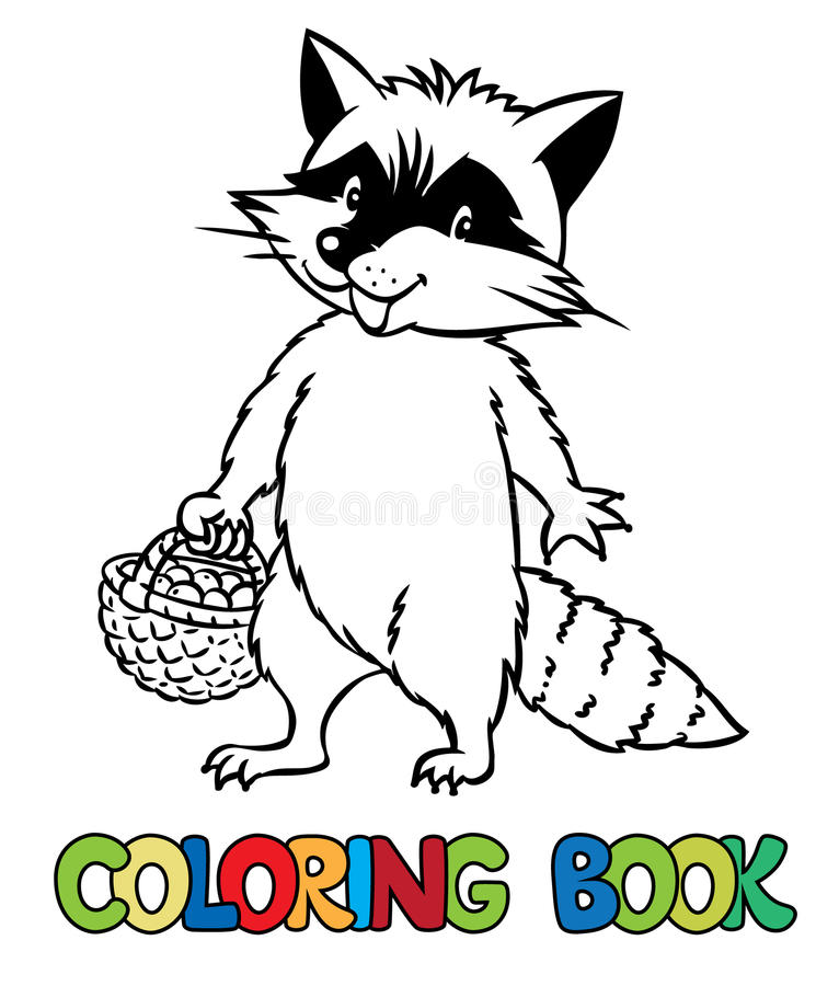 Coloring book of little funny raccoon vector illustration