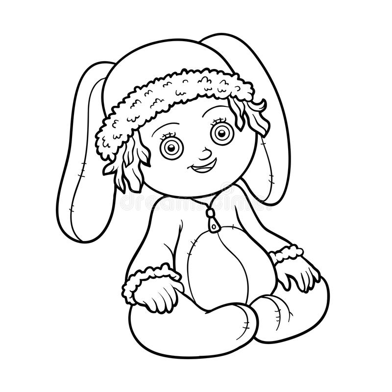 Coloring book. Little girl in a rabbit suit stock illustration