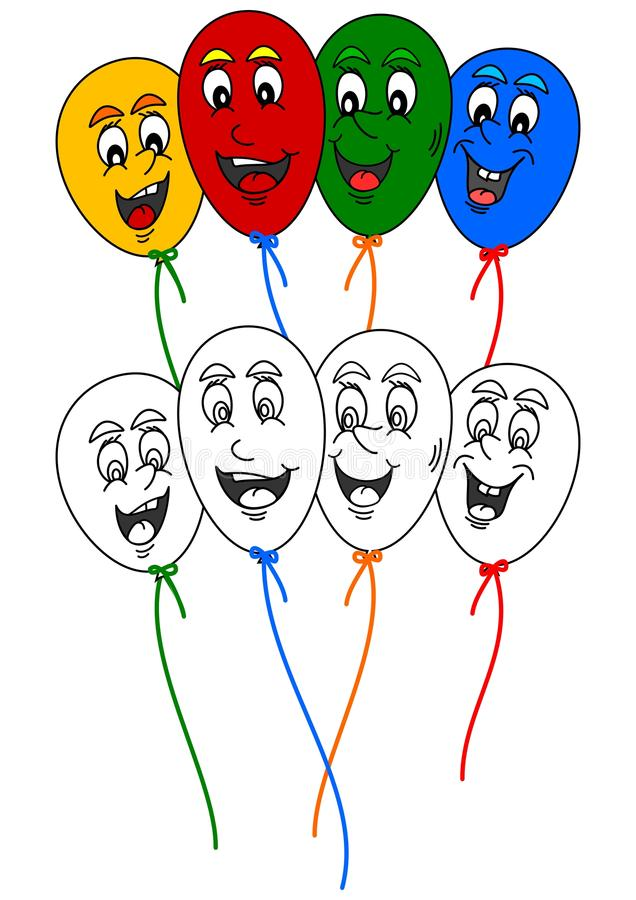 Coloring book for little kids with colorful balloons merry. Coloring book for little kids with colorful balloons amusing - Illustrations stock illustration