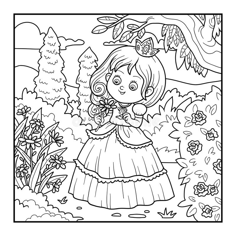 Download Coloring Book Little Princess With A Flower In The Garden Stock Vector