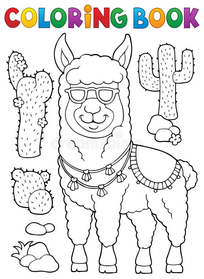 Free Coloring Book Llama With Sunglasses 1 Royalty Free Stock Photography - 135997747