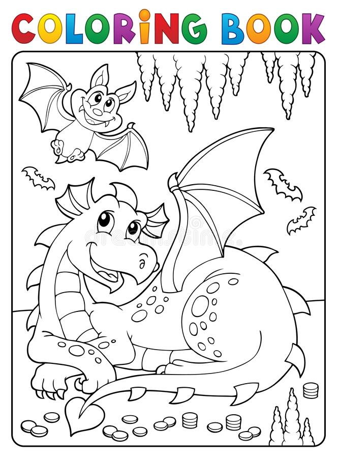 Free Coloring Book Lying Dragon Theme 3 Royalty Free Stock Image - 183251436